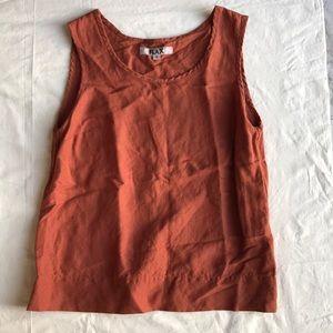 FLAX Burnt Orange Sleeveless Top Small
